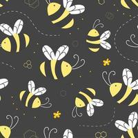 bijen en bloemenpatroon
