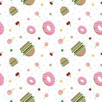 hamburger en donuts patroon vector