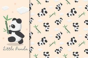 kleine panda en bamboe vector