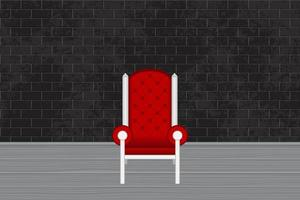 fotostudio met rode stoel en grijze bakstenen muur