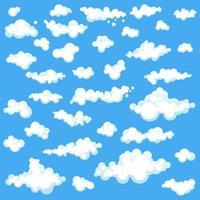 set van witte wolken op blauw