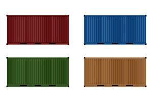 veelkleurige vrachtcontainers op wit vector