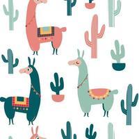 schattig vector alpaca en cactus patroon