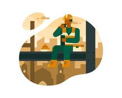 moslimarbeiders eten boven de illustratie van bouwgebouwen
