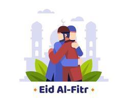 eid al fitr achtergrond met twee moslims die elkaar omhelzen vector