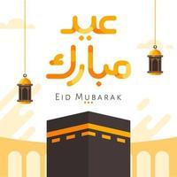 eid mubarak kalligrafieachtergrond met kaaba-ontwerp vector
