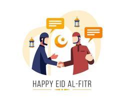 happy eid al fitr achtergrond met twee moslimmannen begroeten elkaar