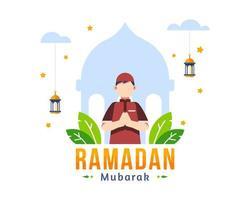 ramadan kareem begroeting achtergrond met moslim jongen bidden