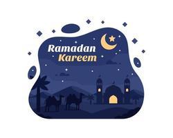 ramadan kareem achtergrond met kameel en moskee silhouet in de woestijn