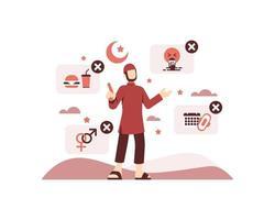 ramadan illustratie met een moslim man omringd door ramadan