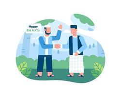 gelukkige eid al fitr begroeting met twee mannen die elkaar begroeten