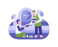 een man geeft schenkingen aan een moskee-illustratie vector