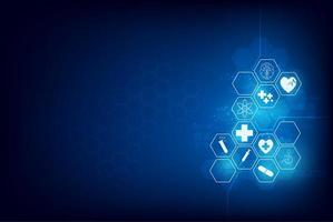 zeshoek medisch pictogram innovatieontwerp vector