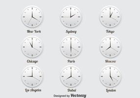 Wereld tijdzone iconen ingesteld vector