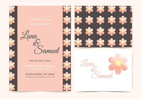 Roze Bloem Vector Bruiloft Uitnodigen