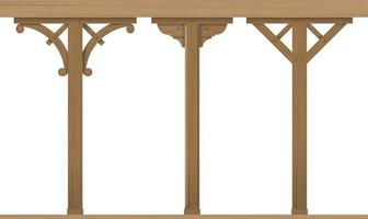 set vintage houten architectonische kolommen