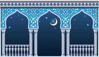 blauwe balkon van een fantastisch paleis met nachtelijke hemel