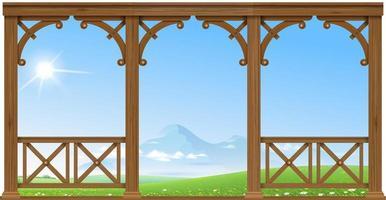 houten oude veranda met uitzicht op de heuvels