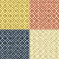 naadloze retro geometrische bloemmotief set