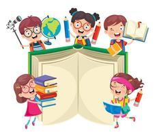 gelukkige schoolkinderen rond groot boek