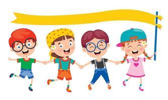 kinderen die pret hebben en gele banner houden