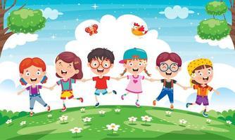 kleine kinderen buiten spelen in de weide