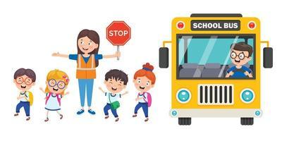 vrouw oversteken bewaker voor schoolkinderen