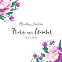 vintage huwelijksuitnodiging met kleurrijke pioenen