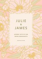 bruiloft uitnodiging met pioen patroon