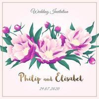bruiloft uitnodiging met pioenrozen