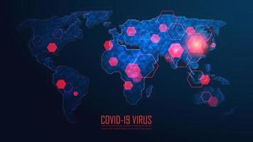 kaart van de wereldwijde uitbraak van een pandemie