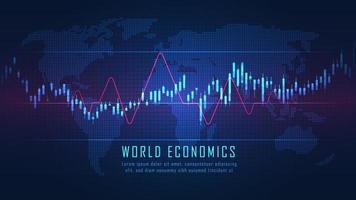 futuristische wereldkaart met grafiek