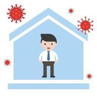 man blijft thuis coronavirus voorkomen vector
