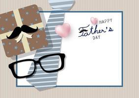 gelukkige vaderdag ontwerp met stropdas, cadeau glazen vector