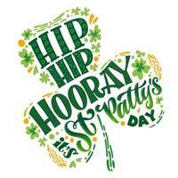 st. Patrick's dag typografie citaat in klaver ontwerp vector