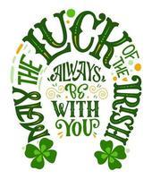 st. Patrick's dag typografie citaat in hoefijzer design