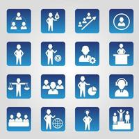 set van vierkante blauwe human resource iconen vector