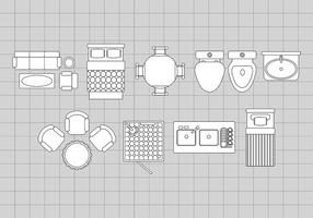 Vloerplan Pictogrammen vector