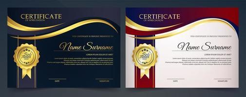 goud, marine certificaatsjabloon vector