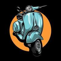 vintage lichtblauwe scooter vector