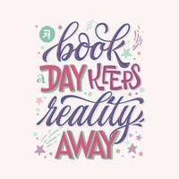 een boek een dag hand getrokken zin