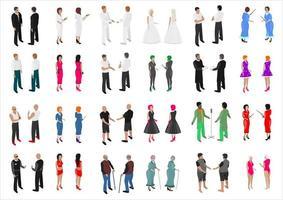 isometrische set van verschillende mensen vector
