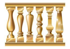 set van verschillende gouden balusters