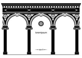silhouet van gebogen klassieke gevel