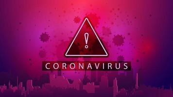 roze poster met waarschuwingsteken, stad en coronavirus moleculen
