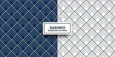 indigo en witte sashiko naadloze patroon set