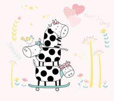 schattige gestapelde baby koeien op skateboard
