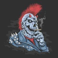 punk skelet rokende sigaret vector
