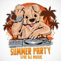 zomer teddybeer dj muziek partij poster vector