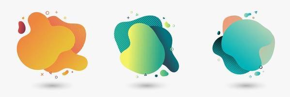 set van kleurrijke abstracte moderne grafische vloeibare elementen vector